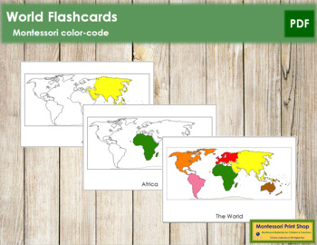 World Continents: Flash Cards