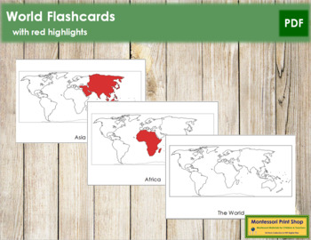 World Continents: Flash Cards (Red)
