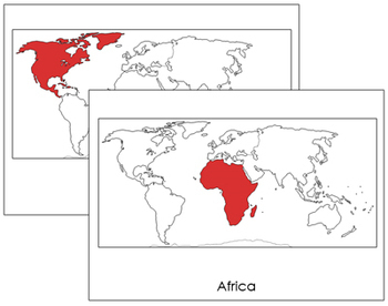 World Continents: Flashcards (Red)