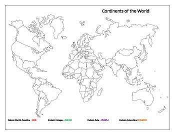 World Continents Labeling & Colouring Page