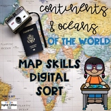 World Continents, Oceans, Map Skills Digital Sort FREEBIE