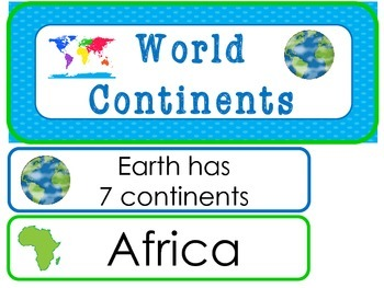 World Continents Word Wall Weekly Theme Posters.