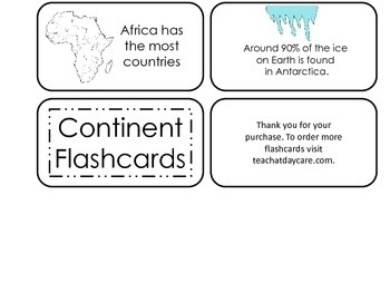 World Continents printable Picture Word Flash Cards. Preschool flashcards.