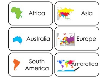 World Continents printable Picture Word Flash Cards. Presc