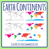 World Map / Continents Simple Outlines for Color In Clip Art Set Commercial Use