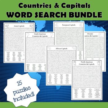 World Countries & Capitals Differentiated Collection of 15 Word Search Puzzles