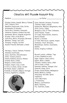 World Country Names in Spanish - Song and Worksheet