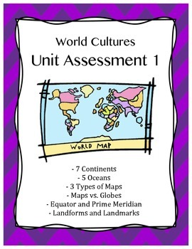 World Cultures Unit 1 Assessment *EDITABLE*