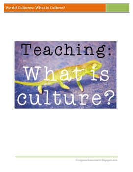 World Cultures: What is Culture?