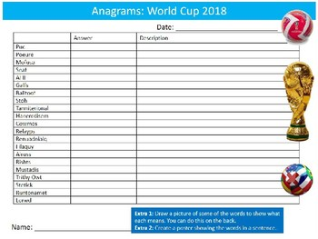 World Cup 2018 Anagrams Puzzle Sheet Starter Activity Keywords PE Sports