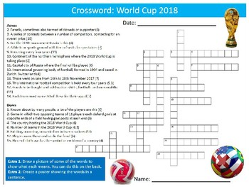 World Cup 2018 Crossword Puzzle Sheet Starter Activity Keywords PE Sports