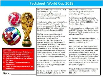 World Cup 2018 Factsheet Worksheet Sheet Starter Activity Keywords PE Sports