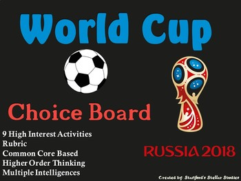 World Cup 2018 Russia Choice Board Soccer Activities Menu Project with Rubric