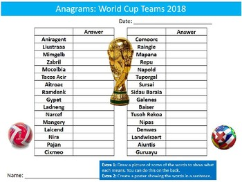 World Cup 2018 Teams Anagrams Puzzle Sheet Starter Activity Keywords PE Sports