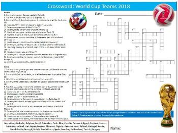 World Cup 2018 Teams Crossword Puzzle Sheet Starter Activity Keywords PE Sports