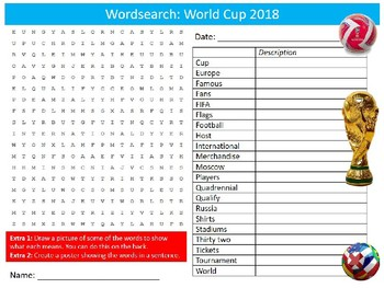 World Cup 2018 Wordsearch Puzzle Sheet Starter Activity Keywords PE Sports