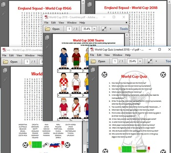 World Cup Activites Bundle - 3 x wordsearches, 'Name the team', Anagrams, WC Qui