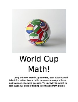 World Cup Math Worksheet