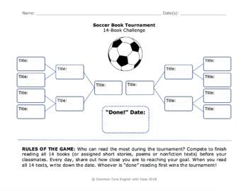 Soccer Reading Challenge Freebie