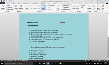 World Cup Review Round 1 (Grammar Spanish Review)