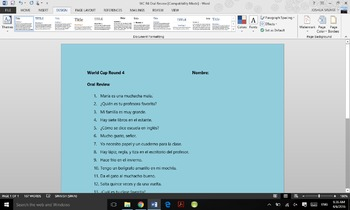 World Cup Review Round 4 (Oral Pracice Review)