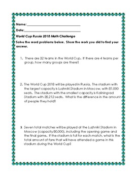 graphic relating to World Cup Groups Printable referred to as Globe Cup Russia 2018- Math Tale Situations
