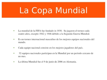 World Cup Spanish Powerpoint- The Basics