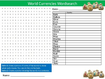 World Currencies Wordsearch Puzzle Sheet Activity Keywords Finance Business