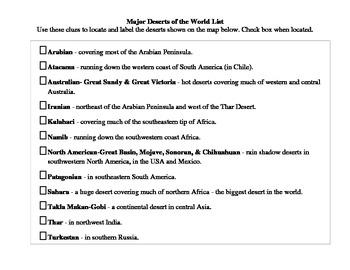 World Deserts Worksheet- fill-in blanks