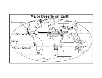 World Deserts Worksheet- fill-in blanks