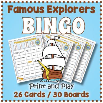 World Explorers BINGO - Famous Explorers Game