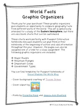 World Facts Graphic Organizers - Eastern Hemisphere AND Blank Templates