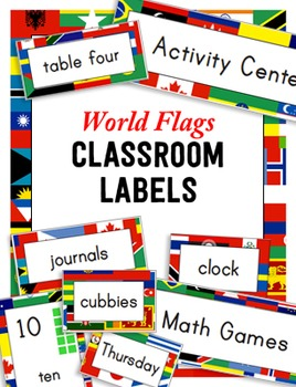 World Flags Classroom Labels and Signs in English