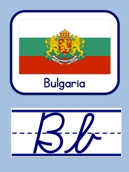 World Flags Cursive Alphabet Posters