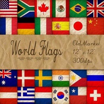 World Flags in Grunge - Digital Paper Pack - 24 Different Papers - 12 x 12