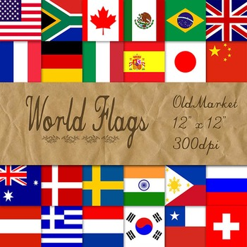 World Flags - Digital Paper Pack - 24 Different Papers - 12 x 12