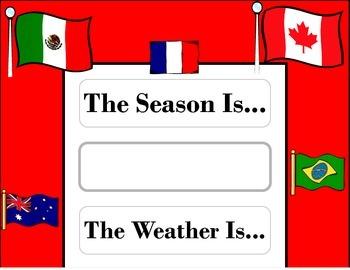 World Flags Weather Chart! World Flags Bulletin Board! World Flag Travel Theme!