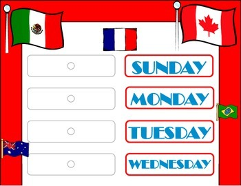 World Flags Weekday Chart! Travel Bulletin Board! World Travel Theme!