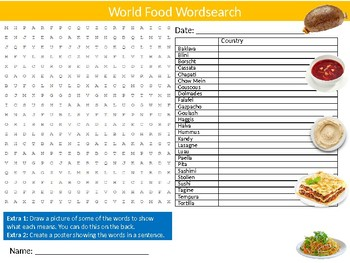 World Food Wordsearch Puzzle Sheet Starter Activity Keywords Countries Cooking