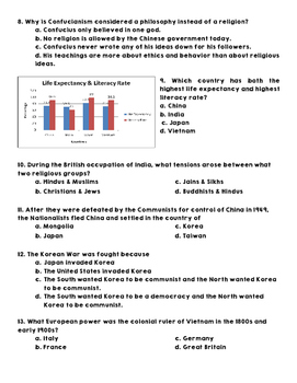 World Geography - Asia - Assessment & Answer Key