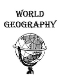 World Geography Binder Cover, World Map, Flags of the World