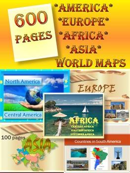 Continents BUNDLE America Europe Asia Africa Australia Maps