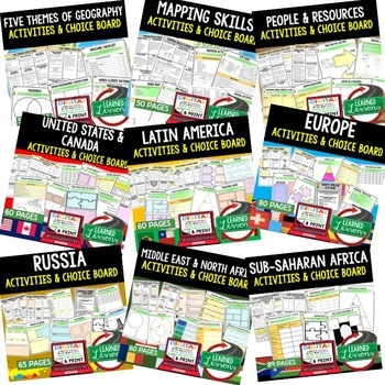 World Geography Choice Board Activities BUNDLE (Paper & Google) Geography Bundle