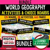 World Geography Activities, Choice Board Print & Digital Google Geography Bundle