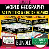 World Geography Activities, Choice Board Print & Digital G