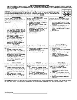 World Geography Choice Board and Rubric