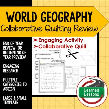World Geography Collaborative Quilt, Classroom Display, Collaborative Poster
