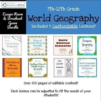 World Geography Customizable Escape Room / Breakout Game Bundle (7 Games)
