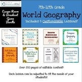 Customizable Bundle of 8 World Geography Escape Room / Breakout Games