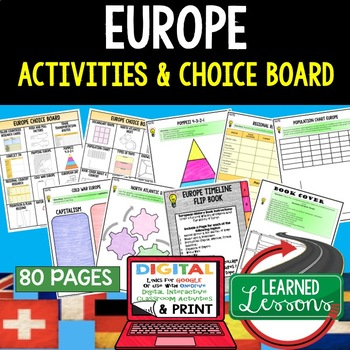 World Geography EUROPE Choice Board Activities (Paper and Google )